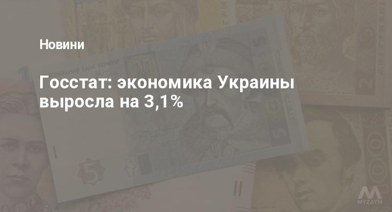 Госстат: экономика Украины выросла на 3,1%
