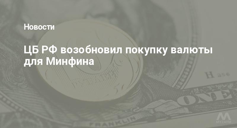 ЦБ РФ возобновил покупку валюты для Минфина