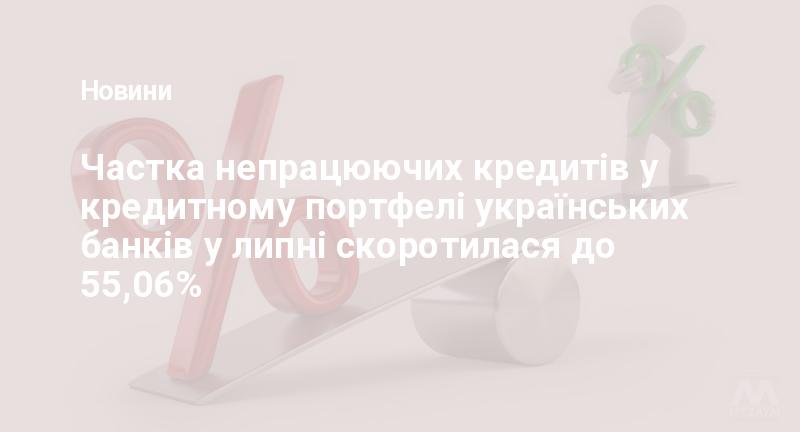 Частка непрацюючих кредитів у кредитному портфелі українських банків у липні скоротилася до 55,06%