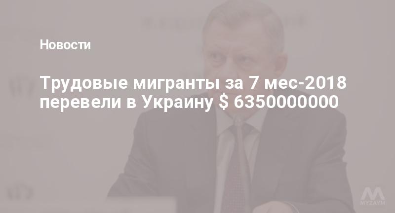 Трудовые мигранты за 7 мес-2018 перевели в Украину $ 6350000000