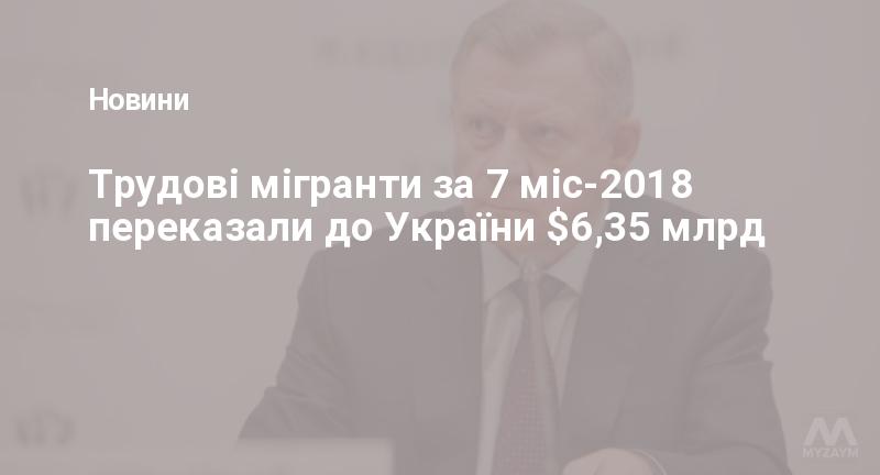 Трудові мігранти за 7 міс-2018 переказали до України $6,35 млрд