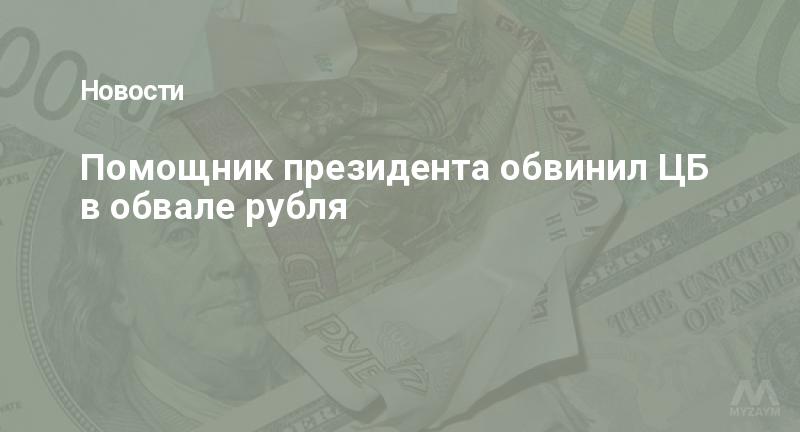 Помощник президента обвинил ЦБ в обвале рубля