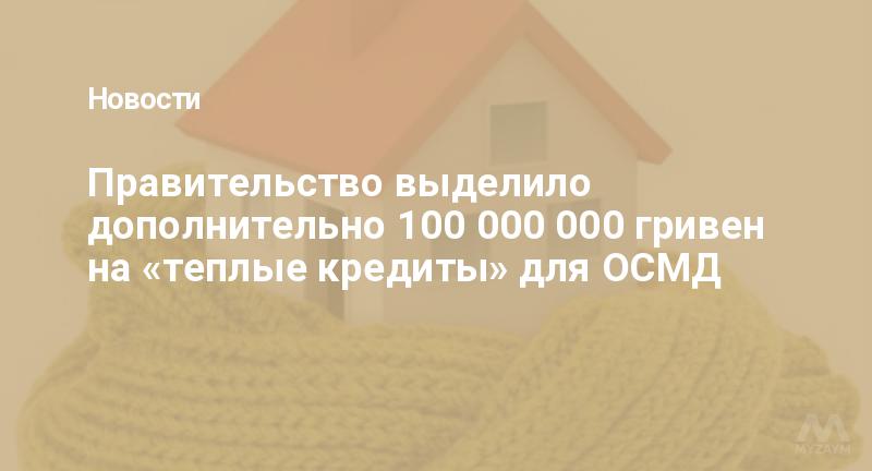 Правительство выделило дополнительно 100 000 000 гривен на «теплые кредиты» для ОСМД