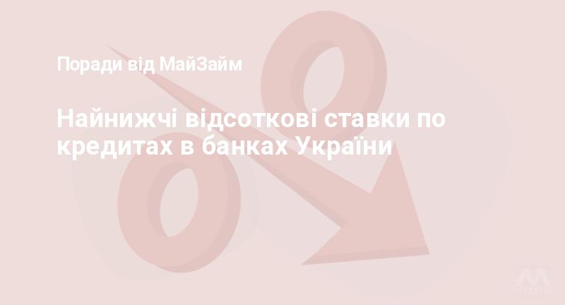 Найнижчі відсоткові ставки по кредитах в банках України